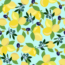 Pattern With Lemon, Olives And...