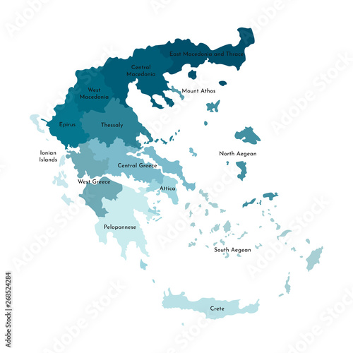 Fotomural Vector isolated illustration of simplified administrative map of Greece