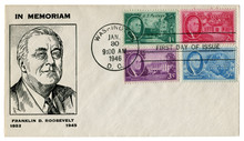 Washington D.C., The USA  - 30 January 1946: US Historical Envelope: Cover With Cachet Portrait Of President Franklin Delano Roosevelt, Four Postage Stamps, First Day Of Issue