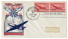 Washington D.C., The USA  - 25 September 1946: US Historical Envelope: Cover With Cachet Air Mail, Cargo And Passenger Aircraft, Propeller, Red Postage Stamps, Five Cents, First Day Of Issue