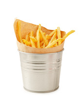 French Fries In Metal Bucket