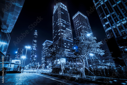 Spoed Fotobehang Nacht snelweg Road City Nightscape Architecture and Fuzzy Car Lights..