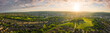 canvas print picture - 12k Aerial Panorama of Sheffield City at Sunset