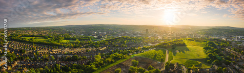 Fotografie, Obraz 12k Aerial Panorama of Sheffield City at Sunset