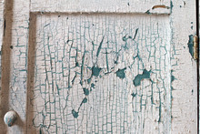 Closeup Of Old Paint On Old Kitchen Cabinets, Background Or Concept