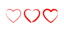 Heart Made With Brush Love Symbols. Drawing Romantic Elements Isolated On White Background.
