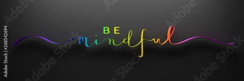 Cuadros en Lienzo BE MINDFUL 3D render of brush calligraphy with rainbow gradient on black backgro
