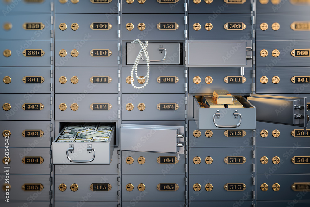 Fototapety, obrazy: Open safe deposit box with money, jewels and golden ingots. Financial banking investment concept.