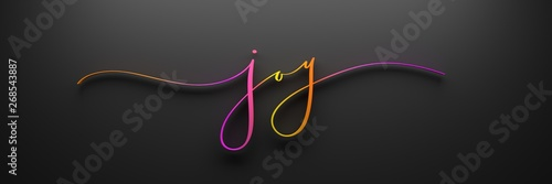 Fotografie, Tablou JOY 3D render of brush calligraphy with bright gradient on black background