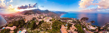 Taormina, Sicily Italy Panoramic Drone Photo Sunset, Volcano Etna In Clouds. Aerial Top View