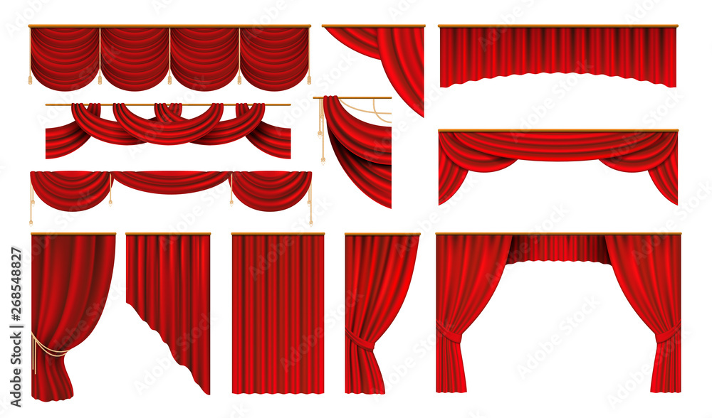 Fototapeta Realistic red curtains. Cinema and theater stage borders, 3D elegant backdrop folding drapery. Vector movie and opera interior silk