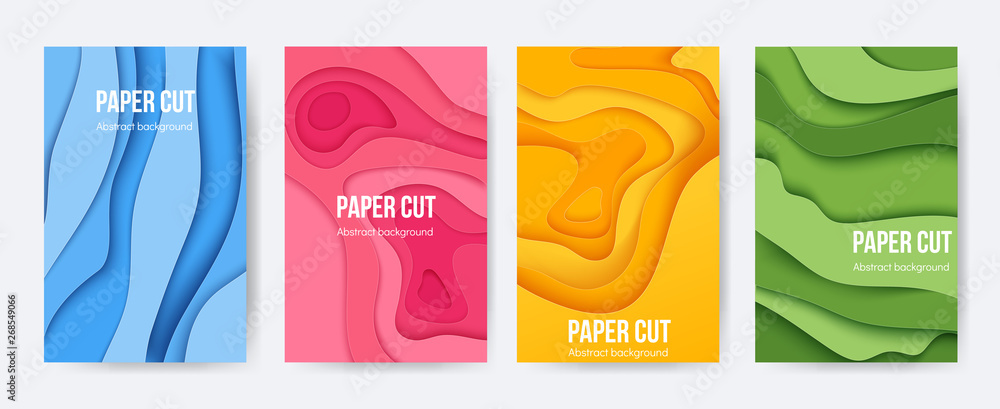 Fototapety, obrazy: Paper cut posters. 3D background with abstract layer forms, minimal origami flyers, liquid paper shapes. Vector colourful cartoon flyers and brochures
