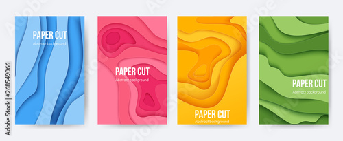 Fototapeta Paper cut posters. 3D background with abstract layer forms, minimal origami flyers, liquid paper shapes. Vector colourful cartoon flyers and brochures obraz