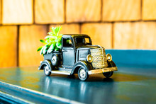 Black Farm Truck With Flowers