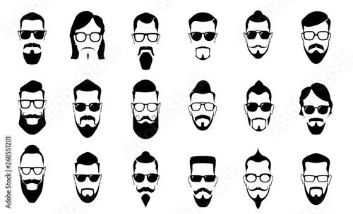 Leinwand Poster Male moustache, beard and haircut