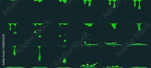 Obraz na plátne Dripping green slime animation