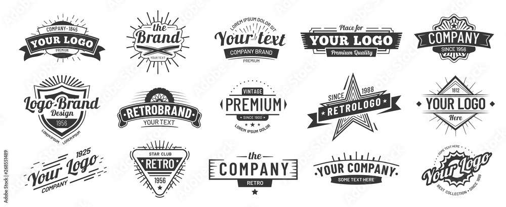 Fototapeta Vintage badge. Retro brand name logo badges, company label and hipster frame vector illustration set