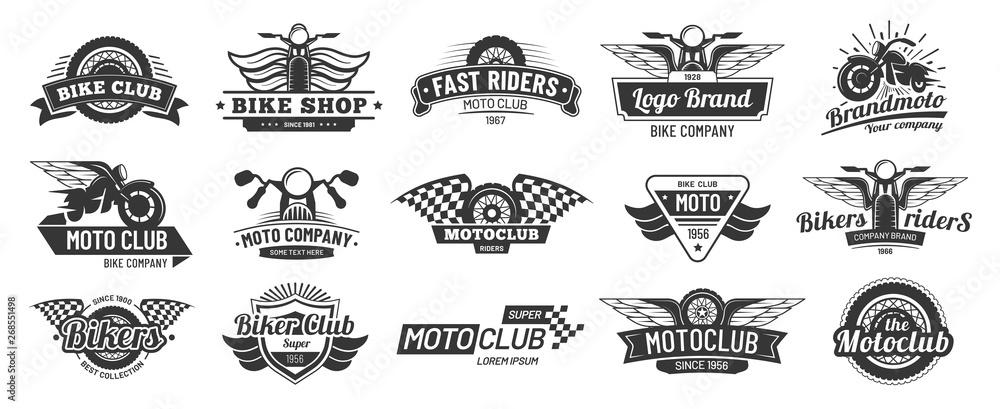 Fototapeta Biker club emblems. Retro motorcycle rider badges, moto sports emblem and motorbike silhouette badge vector set