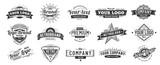 Vintage badge. Retro brand name logo badges, company label and hipster frame vector illustration set
