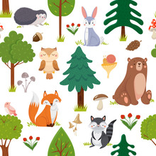 Seamless Woodland Animals Pattern. Summer Forest Cute Wildlife Animal And Forests Floral Cartoon Vector Background
