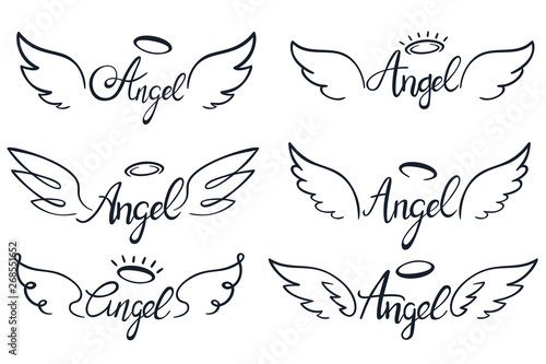 Fototapeta Angel wings lettering. Heaven wing, heavenly winged angels and holy wings sketch vector illustration set obraz