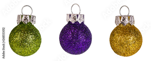 Poster Ecole de Danse Glittering Christmas tree baubles detail. Isolated on white background. Decorative ornaments set. Fragile colored New Year balls. Group of shiny Xmas bubbles. Green, purple and gold-yellow rough bulb.