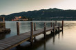 Pier in front of Orta Lake on sunset