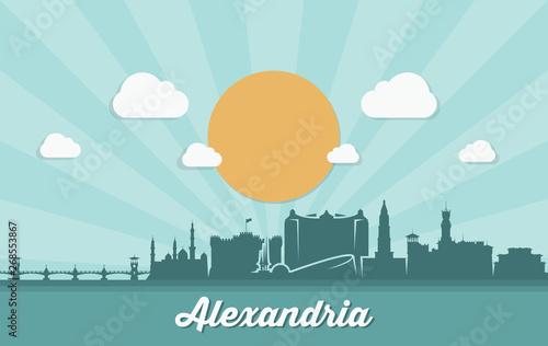 Alexandria skyline - Egypt - vector illustration - Vector Wallpaper Mural