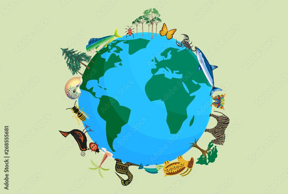 Fototapeta Planeta tierra con animales y plantas por la biodiversidad.