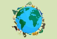Planeta Tierra Con Animales Y Plantas Por La Biodiversidad.