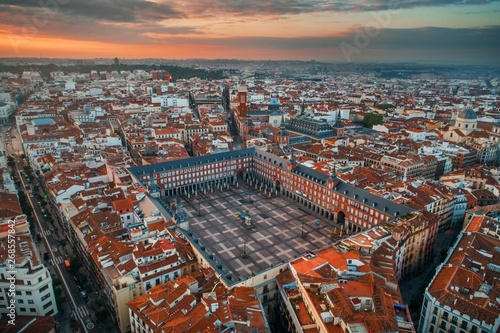 Madrid plaza Mayor aerial view