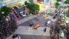 Shibuya Crossing ( 4K UHD Time-lapse ), One Of The Busiest Crosswalks In The World. Pedestrians Crosswalk At Shibuya District. Tokyo, Japan