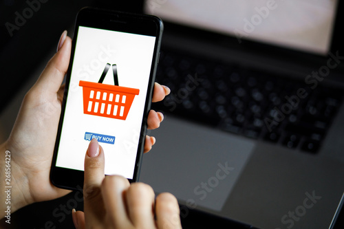 Fototapety, obrazy: Woman with phone. Online payment. Women hands using smartphone and laptop computer for online shopping. Payment Detail page display.