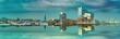 canvas print picture - Skyline von Hamburg mit Blick auf die Elbphilharmonie die sich im Wasser spiegelt