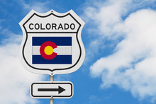 Colorado Map And State Flag On...