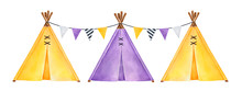 Set Of Little Tipi Tents, Decorated With Triangle Pennant Flags String. Yellow And Purple Colors. Hand Drawn Watercolour Graphic Drawing On White, Isolated Clipart Element For Print, Card, Invitation.