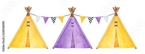 Valokuva Set of little tipi tents, decorated with triangle pennant flags string