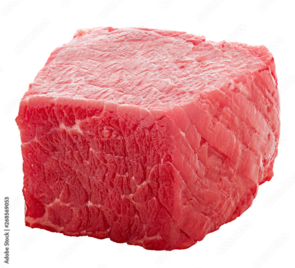 Fototapeta meat, beef, cube, isolated on white background, clipping path, full depth of field
