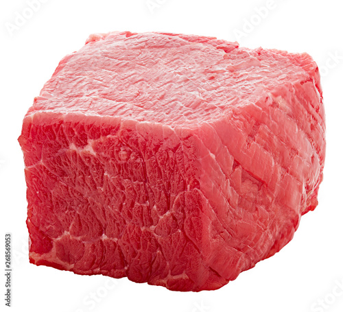 Photo  meat, beef, cube, isolated on white background, clipping path, full depth of fie
