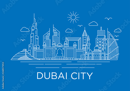 Fotografía dubai city skyline background with iconic concept use for background banner and