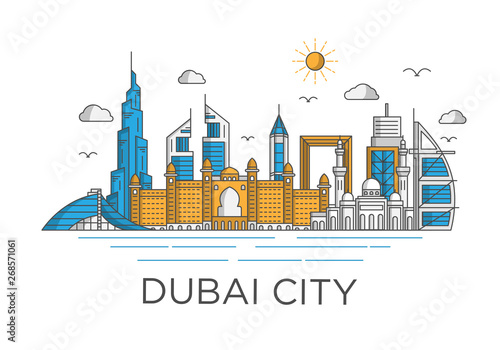 dubai city skyline background with iconic concept use for background banner and Canvas Print