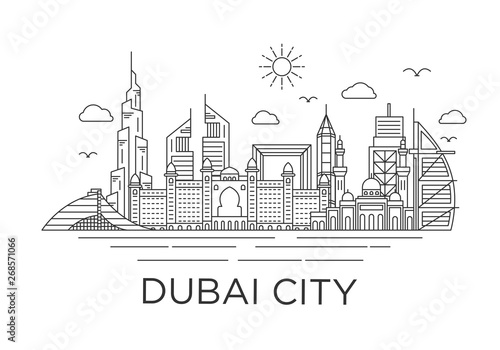 Fotomural dubai city skyline background with iconic concept use for background banner and