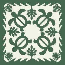 Hawaiian Quilt Illustration (green), Leaves, Nature, Turtle, Background, Fabric, Textile, Summer Image