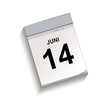Calendar, tear-off calendar with date 14 June, Tear-off calendar, Vector illustration isolated on white background