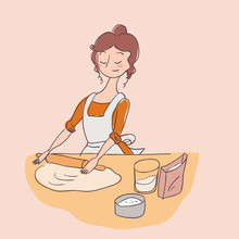 Dough Cook Housewife Vector Il...