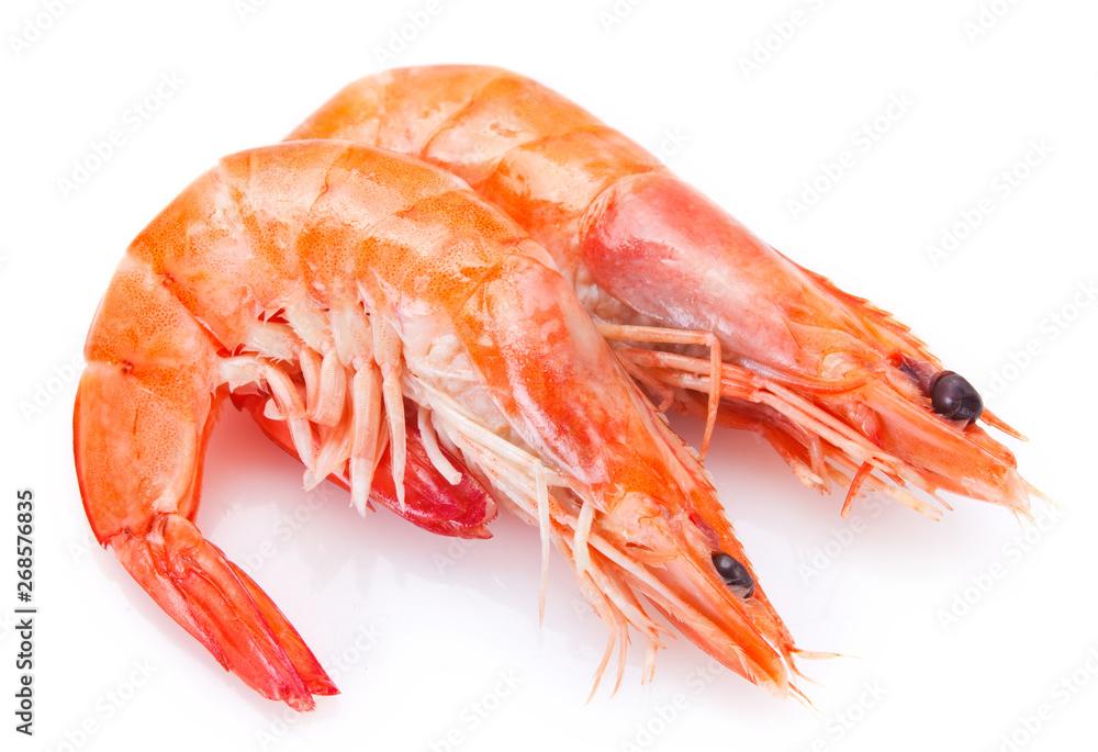 Fototapety, obrazy: Cooked shrimp on white background