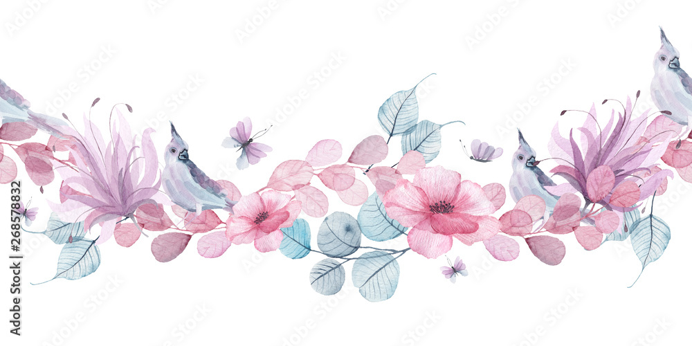 Fototapeta Watercolor floral seamless borders with delicate pink, blue, lilac flowers, petals, branches, leaves, twigs, butterflies, bird for wedding invitations, greeting cards