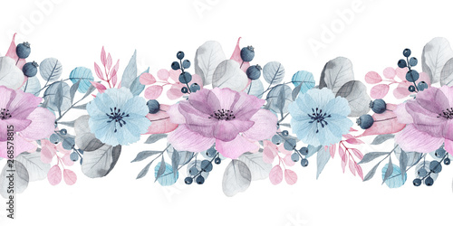 Fotografie, Obraz  Watercolor floral seamless borders with delicate pink, blue, lilac flowers, peta