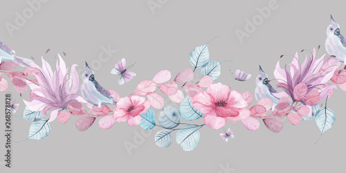 Obraz na plátně  Watercolor floral seamless borders with delicate pink, blue, lilac flowers, peta