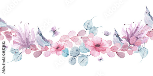 Watercolor floral seamless borders with delicate pink, blue, lilac flowers, petals, branches, leaves, twigs, butterflies, bird for wedding invitations, greeting cards
